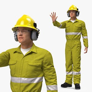 3D Gas Worker Fully Equipped Standing Pose model