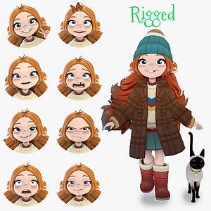 Cartoon Girl Traveler 3D model