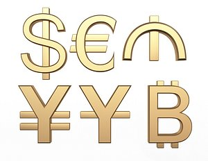 3D Currency Symbols Collection model