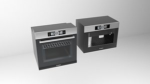 3D Bosch oven and coffee machine