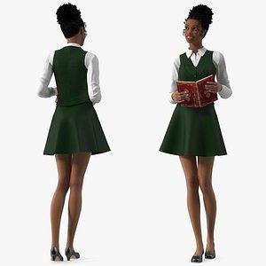 3D Light Skin Black Teenage Schoolgirl Standing Pose model
