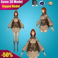 3D Warrior Elf Girl 06 RIGGED model