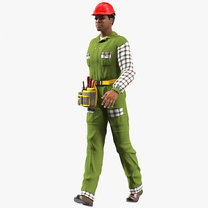 3D model light skinned black builder