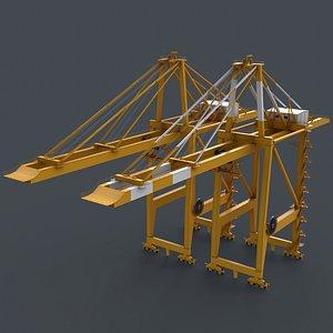 3D PBR Quayside Container Crane V2 - Yellow