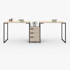 Double Study Desk model
