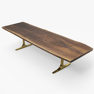 wood slab dining table 3D