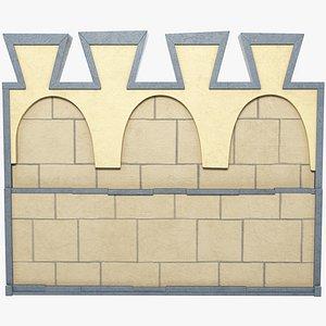 3D medieval wall segment model