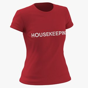 3D Female Crew Neck Worn Red Housekeeping 03