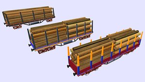 3D rail wagon for logs or others in 3 different sizes