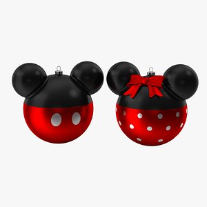 3D model mickey minnie mouse christmas balls