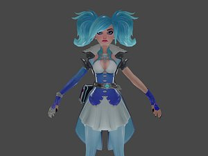 Olivia beautiful girl - game ready character Low-poly 3D model model