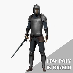 3D Low Poly Rigged Knight Game Ready Stylized Cartoon Character model