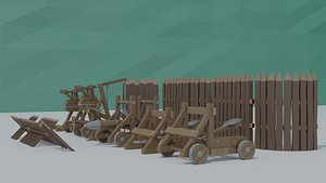 3D cartoon siege engines asset