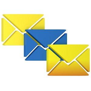 message letter icon color 3D