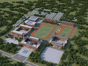 School modern school high school football field track field bird eye view Chinese school whole sch 3D model