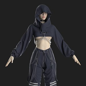 3D Gothic Female Outfit Marvelous Designer project model
