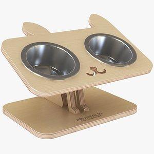 3D Wooden Cat Pet Bowl