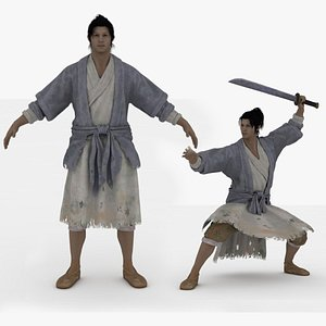 3D Jia Ding Rigged and 60 Animations with weapons model