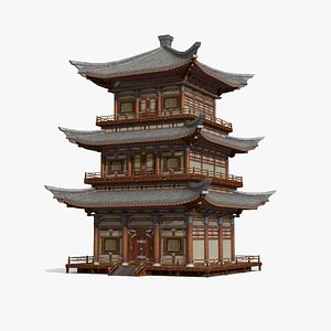 3D model three-story tower asia