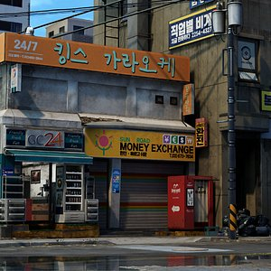 3D corner shop building ue4 model