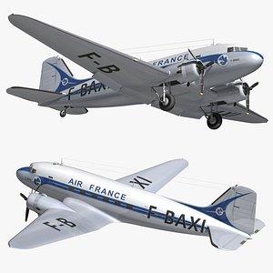3D DC3 Air France Vintage model