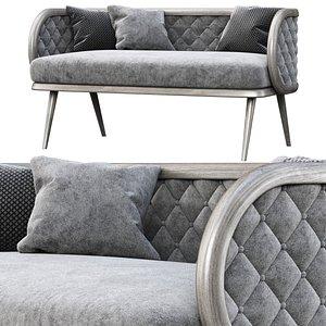 Victoria velour two-seater restaurant sofa VC16 3D