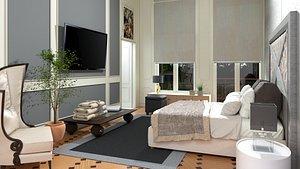 bedroom room bed model