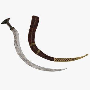 3D shotel curved sword