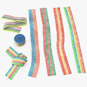 Multicolor Gummy Licorice Belt Candy Set 3D