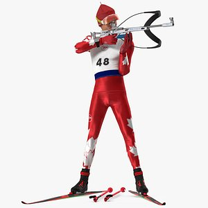 3D Biathlete Fully Equipped Canada Team Rigged for Maya