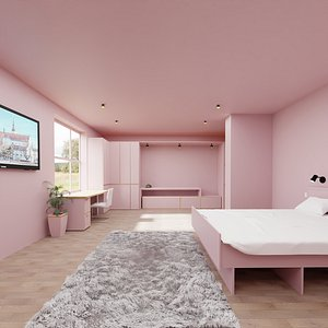 3D hotel room pink