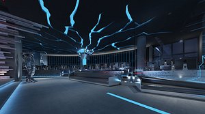 3D Science fiction Internet cafe science and technology sense of electronic sports Internet cafe