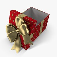 Gift Box Cube Red Open