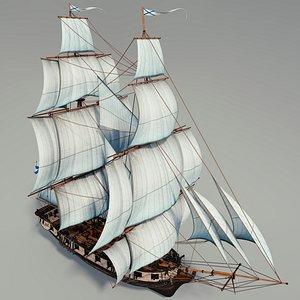 3D ship boat brig model
