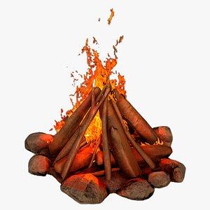 3D campfire camp