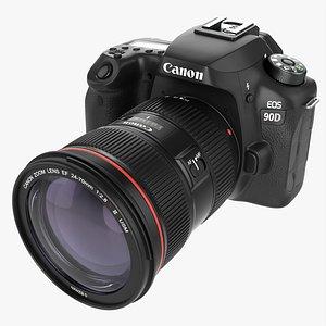 3D Canon EOS 90D DSLR camera EF 24-70mm f2.8L II USM Lens 01