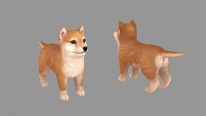 3D Cartoon pet puppy - Shibainu - baby dog