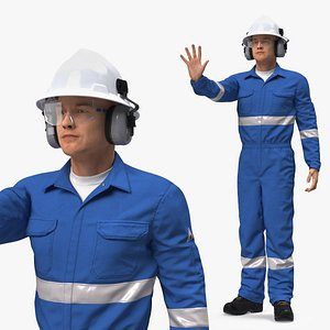 Oil Gas Worker Fully Equipped Standing Pose Fur 3D model