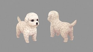 Cartoon pet puppy - Bichon - baby dog 3D model