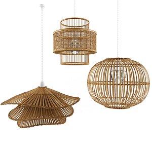 pendant lamp natural bamboo 3D