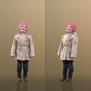 10090 Lilly - Young Girl in Winter Clothing Looking Up 3D model