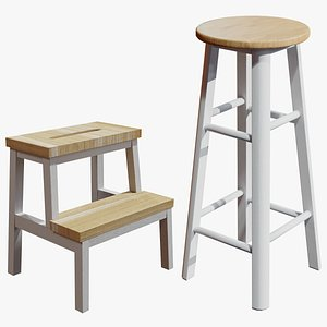 3D Low poly Bar stool and stepping stool
