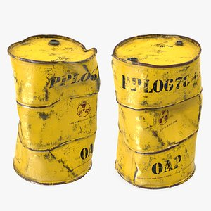 3D damaged radioactive waste barrel