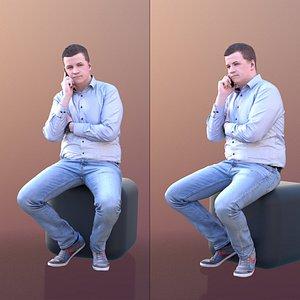 man sitting talking 3D model