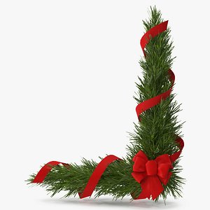 Christmas Corner Decoration with Red Bow and Ribbon 2 3D model