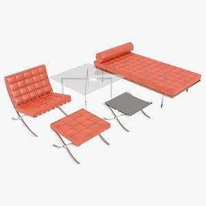 3D Knoll Orange Leather Barcelona Complete Set model