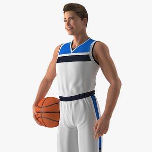 Teenage Boy with Basketball Ball 3D