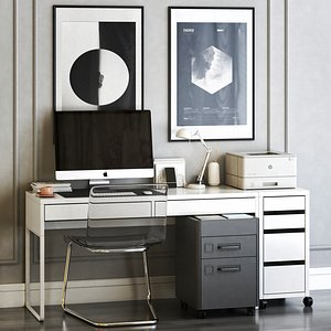 3D IKEA workplace set with TOBIAS chair and MICKE table