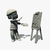 painter cartoon lowpoly
