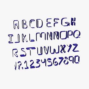 Flat alphabet 3D model
